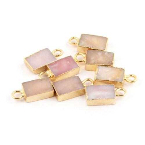5x8 mm Rectangle Natural Mix Gemstone Gold Plated DIY Charms Bracelet Connectors