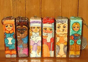 Christmas-Tree-Decorations-Russian-set-6-SANTA-SNOW-MAIDEN-HEDGEHOG-BROWN-BEAR