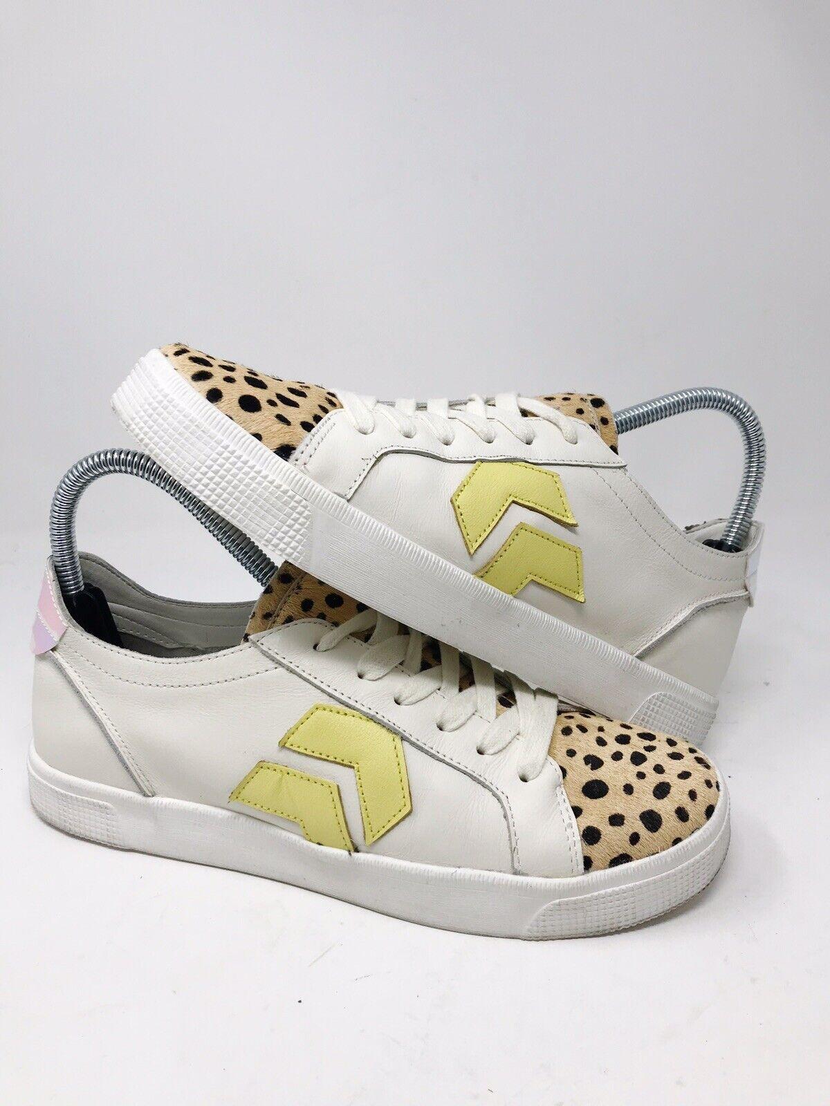 Dolce Vita Women's Zeph Leopard Cheetah Calf Hair Sz 7.5 Leather Sneakers Shoes