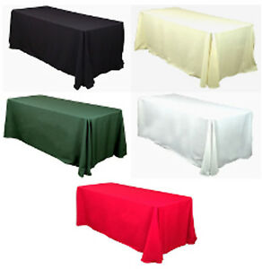 10-Rectangular-90-034-x156-034-Polyester-Tablecloths-12-Colors-8ft-Table-Cover-Made-USA