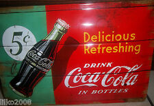 COCA COLA/ COKE 5C IN BOTTLES: EMBOSSED (3D) METAL SIGN, 30X20cm/ 12X8 INCHES