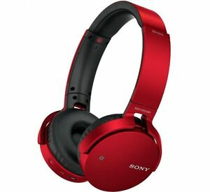 Sony-Extra-Bass-Sound-Cordless-Bluetooth-Over-Ear-Headphones-NFC-One-Touch-Red