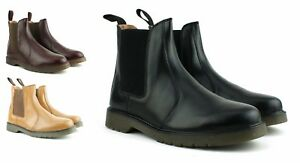 MENS-NEW-BLACK-REAL-LEATHER-CHELSEA-DEALER-BOOTS-AIR-SOLE-SHOES-SIZE-7-8-9-10-11