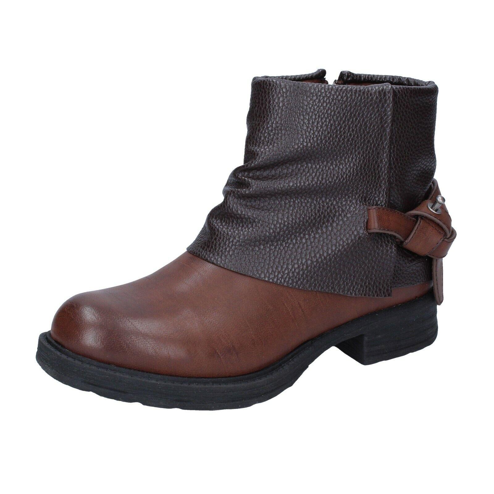 Zapatos señora francesco Milano 37 UE botines de cuero marrón br34-37