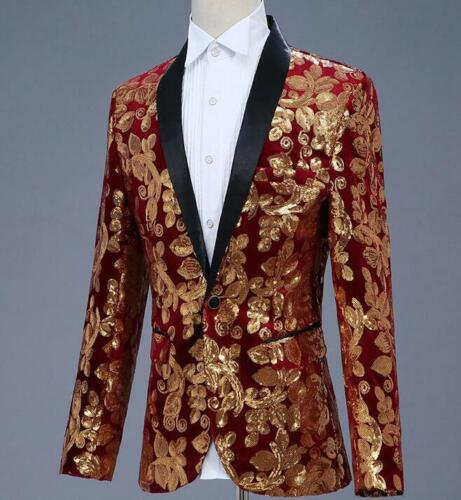 New Western-style Mens Coats Jacket Slim Fit Casual One Button Sequins Coats Hot