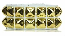 White Gold Pyramid Stud 2 Row Punk Rockers Gothic Bracelet Glam Thrash Metal