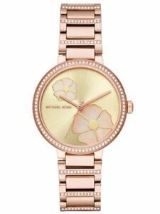 Michael-Kors-Women-039-s-Courtney-Rose-Gold-Tone-Mother-of-Pearl-Flower-Watch-MK3836