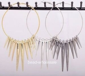 3-Pairs-Acrylic-Spike-Charms-Hoop-Basketball-Wives-Earrings-Silver-Golden-Black