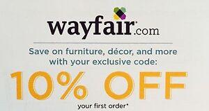 Wayfair 10 Off Your First Order Coupon Code 8 15 20 Ebay