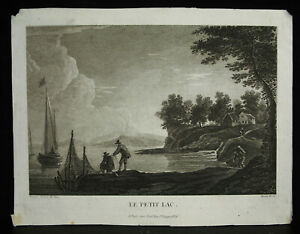 Engraving-18th-Stone-Francois-Basan-After-Hermann-Van-Swanevelt-the-Small-Lake