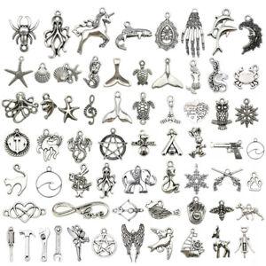 Lot-Tibetan-Silver-Fashion-Jewelry-Charms-Pendant-Bracelet-Carfts-DIY-Finding
