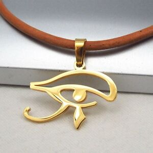 Gold-Egypt-Eye-Of-Horus-Egyptian-Stainless-Steel-Pendant-Brown-Leather-Necklace