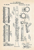1894 Clarinet Art Drawing Devault Patent Print Gifts Presents Wind Reed Poster