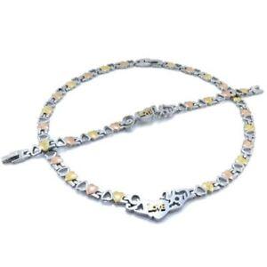 Hugs-amp-Kisses-I-LOVE-YOU-Womens-Tri-Color-Necklace-18-20-034-3-styles-Bracelet-Set