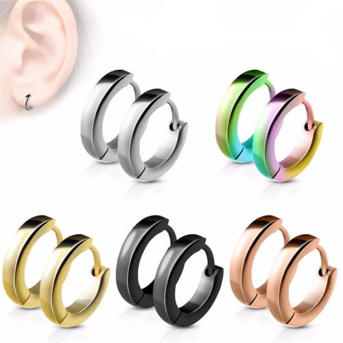 Stainless Steel Punk Hoop Earrings Cuff Wrap Ear Stud Clip Lady Jewelry GS