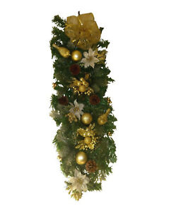 Luxury-Cream-amp-Gold-Decorated-Swag-Garland-Christmas-Decoration-Wall-Door-61cm