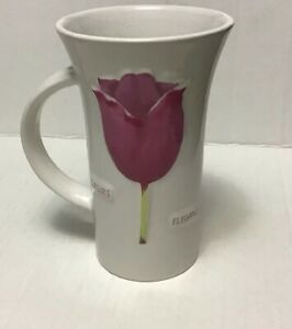 Mulberry-Home-Collection-Pink-amp-White-Coffee-Tea-Mug-Cup-16Oz-Flower-Tulip