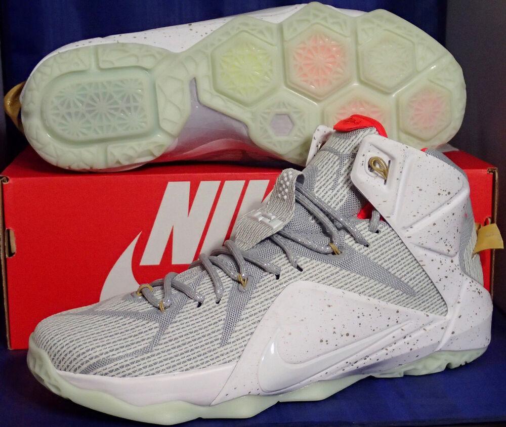 Nike Lebron XII 12 Id Blanc Argenté Écarlate Sz 10.5 (799181-982)