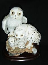 Danbury Mint SNOWY OWLS Porcelain Figurine 1989 Katsumi Ito With Box