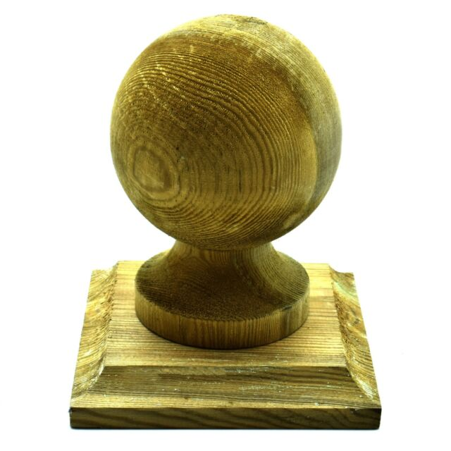 """GREEN TREATED WOODEN FINIAL 4"""" 100mm BALL + BASE TO SUIT 4"""" 100mm FENCE POST"""