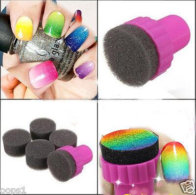 20 pc Black Stamper // Sponge Nail Art Polish Transfer Tips Tool Glitter Sticker