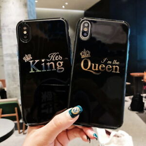 size 40 3d3a7 55a5f Details about Glossy Crown KING QUEEN Letter Phone Case For iPhone X 8 7 6S  Plus Couples Case