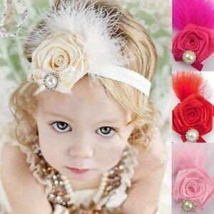 bandeau-pour-cheveux-fleur-rose-PLUMES-PERLE-STRASS-Bebe-Fille-Parure