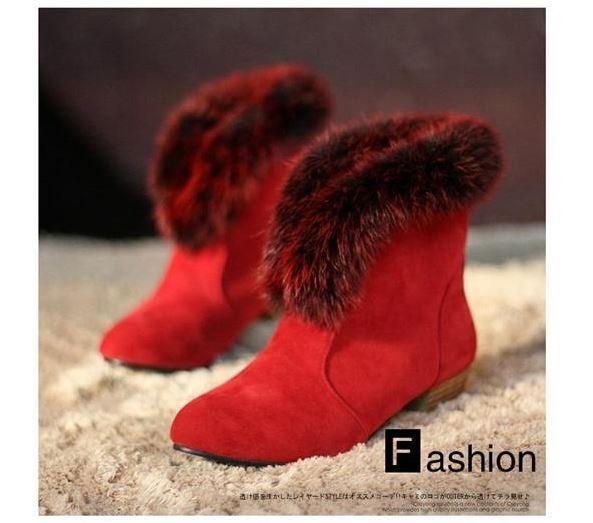 Botines botas zapatos de tacón mujer 3 como piel cabello cómodo caldi rojo 083