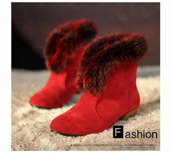 Stiefeletten stiefel damenschuhe absatz 3 simil leder haar komfortabel heiß rot