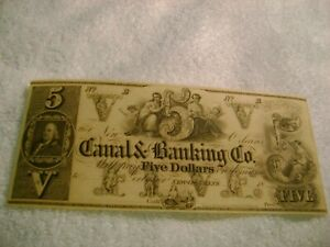 1840-039-s-5-Canal-Bank-New-Orleans-Louisiana-Obsolete-CURRENCY-UNCIRCULATE