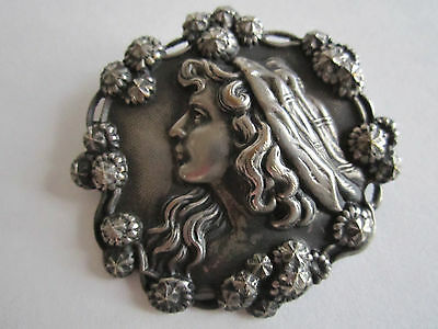"Bba Let Our Commodities Go To The World Reliable Vintage Silver Plated Pin/brooch Portrait Of Lady 2"" In Diameter"