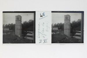 Lugano Eglise Suisse Foto Stereo T2L9n40 Placca Da Lente Vintage