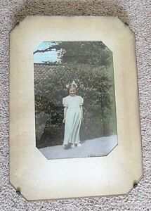 Antique 1920s A Large Frameless Glass Wood Wall Hanging Photo