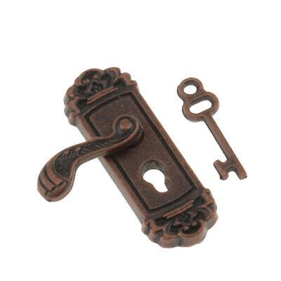 8pcs 1:12 Scale Door Knob Handles Key Dollhouse Miniature DIY Accessory