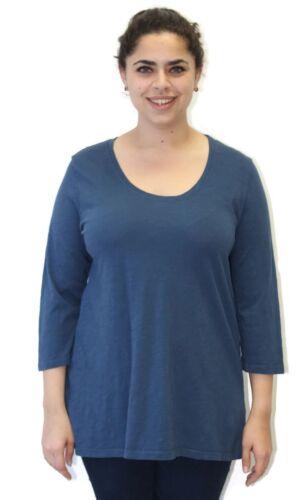 a cotone maniche in shirt Plus Indaco in 4 stile One maniche 3 con lino T taglia qEW4tn4