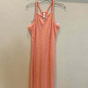 ALTERNATIVE-Nordstrom-Rack-Midi-Dress-Papaya-White-Dot-Size-Small-New