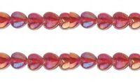 2 Strands 16 Iridescent Glass Heart Beads (80+) Rainbow Red 10x10mm Top Hole