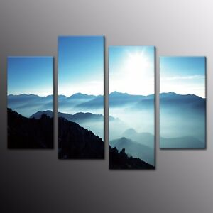 Details About Large Mountains Painting Print On Canvas Home Decor Room Wall Art Poster 4pcs