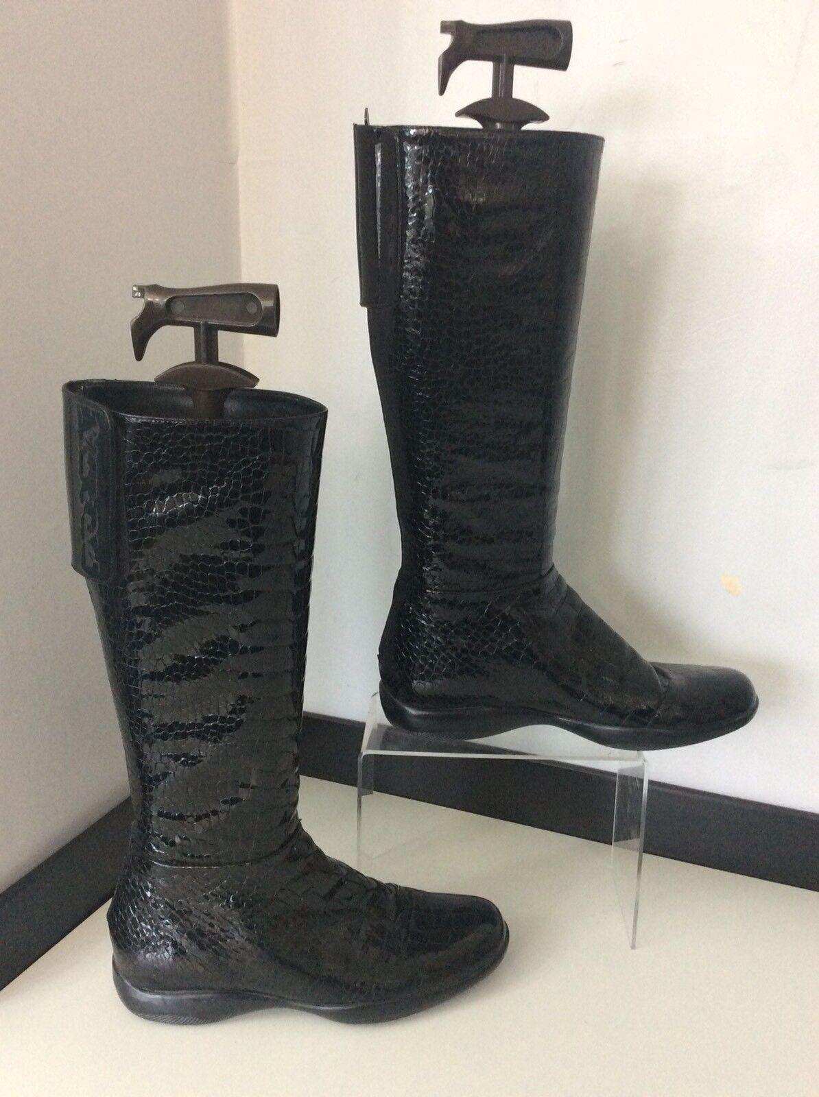 Zapatos de mujer baratos zapatos Charol de mujer Prada Charol zapatos Botas Altas Rodilla Piel De Serpiente Reino Unido 6 en muy buena condición dbc99f