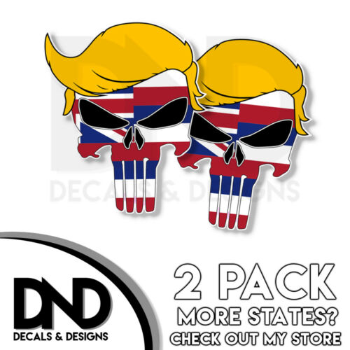 Hawaii Decal Republican Right Wing Sticker 2 Pack HI Trump Punisher