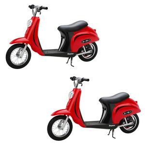 Razor Pocket Mod Miniature Euro 24 Volt Electric Retro Scooter, Red (2 Pack)