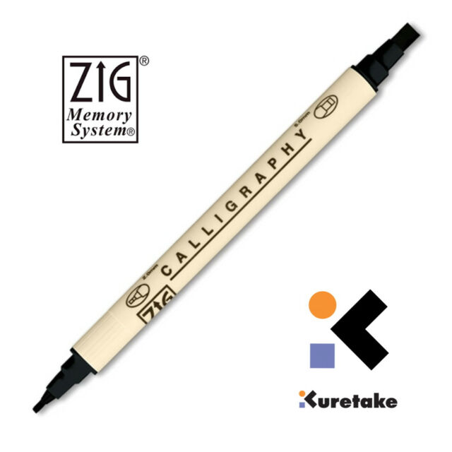 Packaged Zig Memory System Scrapbooking PURE BLACK Calligraphy Dual-Tip Marker