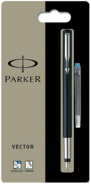 Parker Vector Fountain Pen Black / Blue / Red +Blue Washable Cartridge - France
