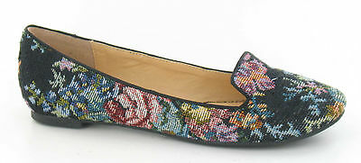SALE Spot On ladies casual Loafer/Ballerina shoe Black Tapestry OR Leopard F8754