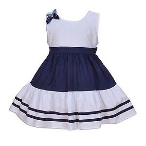 NUEVO-de-Bebe-Ninas-Algodon-Vestido-De-Fiesta-Azul-Red-3-6-9-12-18-meses