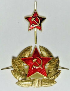 Soviet-Russian-Army-Uniform-Red-Star-Military-Hat-amp-Cap-Badges-x-2-USSR