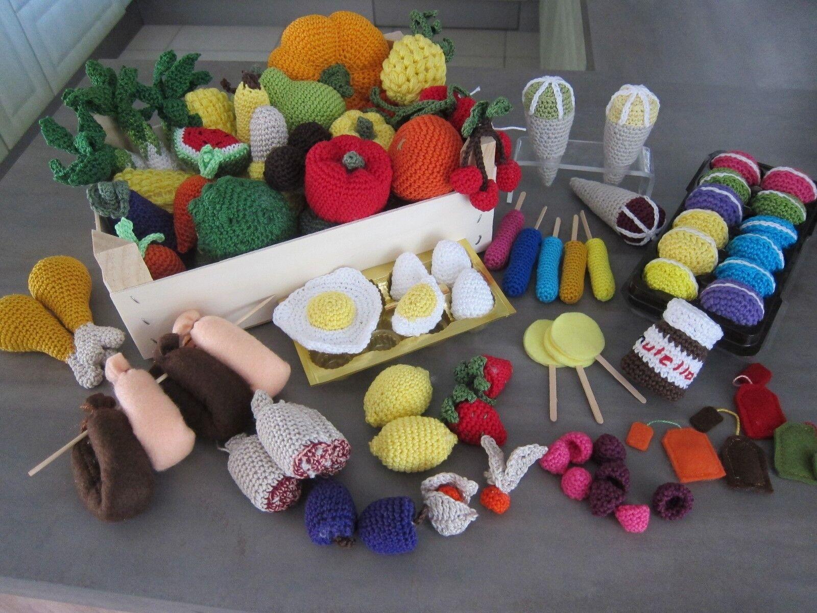 AKTION ---  gespart  56 tlg  Kaufmannsladen Kaufladen Kaufladen Kaufladen Kinderküche gehäkelt 4c8234
