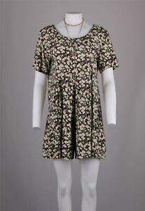 Mini-Vestido-Vintage-90s-Ditsy-Berry-Floral-Grunge-Retro-De-Te-Smock-Culottes