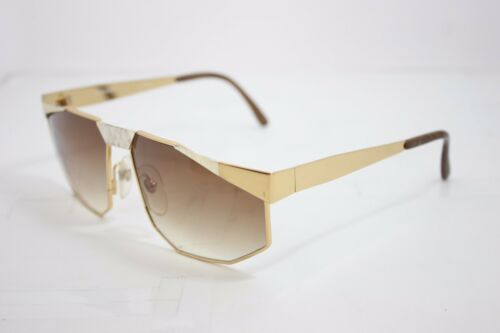 1 MAGA Vintage Lunettes de soleil Oversize Made in Italy 3040D rare gold 63 mm