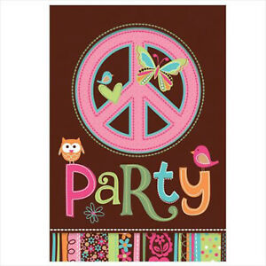 60s HIPPIE PARTY Peace Sign Invites + Envelopes Pack 8 Invitations Free Postage